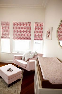 roman blinds baby girls room